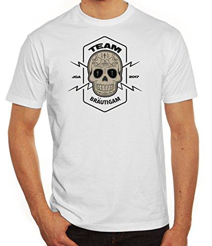 Junggesellenabschieds JGA Hochzeit Herren T-Shirt Skull Team Bräutigam Weiß