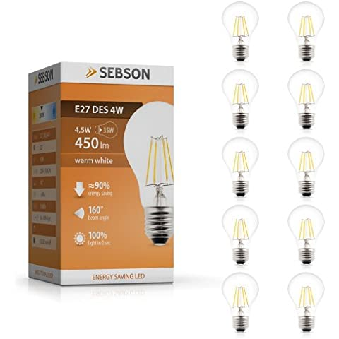 Sebson pacchetto di lampada a incandescenza 10 E27 4W LED - cfr 40W lampadina - 450 Lumen - E27 LED bianco caldo - Lampadine a LED 160 °