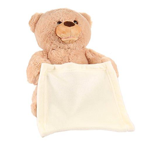 Keland Weiche Teddybär Guck-Guck Bär Plüschbär super süss Cartoon Bär Puppe Musik Kuschel Spielzeug Kinder Geburtstagsgeschenk (Plüsch-bär Teddy)