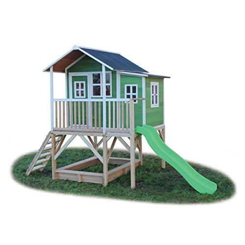 EXIT Loft 550 grün / Spielhäuschen auf Stelzen mit Veranda+Rutsche + Sandkasten / Zedernholz /...