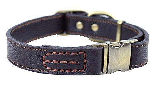 ZEEY Pelle morbida Collare regolabile per cani, del collo da 33 a 51 cm e 2,5 centimetri ampio, facile da usare collare fibbia medio / cani di taglia grande con forte gancio guinzaglio del cane (Marrone)