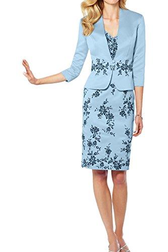 Ivydressing Modisch Neu 2017 Satin Etui Applikation Brautmutterkleider Kurz Cocktailkleider Partykleider mit Jacke Blau