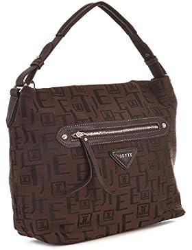 JETTE Damen Tasche Handtasche Logo Jacquard Hobo, braun