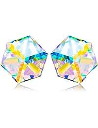 """NINASUN """"Caleidoscopio"""" Plata de Ley 925 Fabricados con Cristales SWAROVSKI® [Aurore Boreale], Joyeria Mujer, Libre de Alérgenos"""