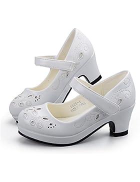 Sunny&Baby Zapatos de niña con bordado de flores Vestido de fiesta de tacón Sandalias de princesa para niños pequeños...