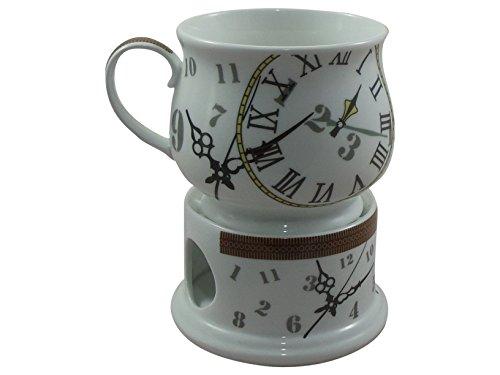 Cha Cult Tasse mit Stövchen Design – Ben – Becher aus Porzellan rafiniertem Uhrendesign immer ein heißes Getränk
