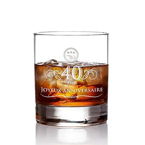 AMAVEL Verre à Whisky avec Gravure 40 Ans - Élégant Tumbler - Volume 320 ML