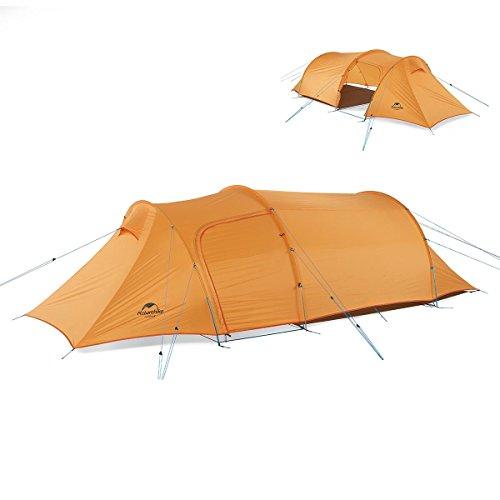iBasingo 2-3 Personen Abnehmbares Tunnelzelt mit Lobby Camping Klettern Doppelschicht Wasserdichtes Zelt im Freien Ultraleicht 4 Jahreszeiten Camp Zelt mit Mat zum Wandern Reisen (Orange)