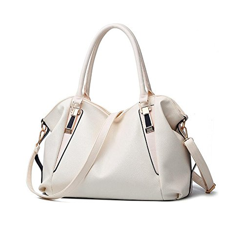 Beatayang Damen Elegant Schultertasche Handtasche Weiß