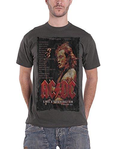 AC/DC T Shirt Live At Donington Set 1991 Band Logo Offiziell Herren Nue Charcoal (Ac-dc-crew-t-shirts)