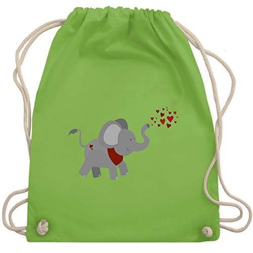 Tiermotive Kind - Elefant- Herzchen - Unisize - Hellgrün - WM110 - Turnbeutel & Gym Bag