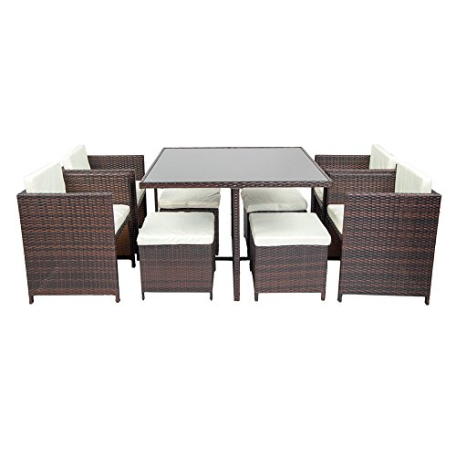 life carver rattan cube garden furniture sets 8 seater dining set outdoor wicker cushioned chair and ottoman rattan patio set 9pcs garden rattan furniture - Garden Furniture 8 Seater