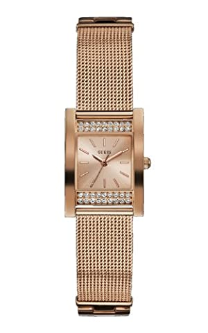 GUESS Women's Quartz Watch with Rose Gold Dial Analogue Display and Rose Gold Stainless Steel Bracelet W0127L3