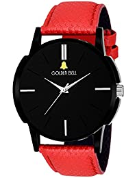 Golden Bell Youth Analogue Display Black Dial Red Leather Strap Boys And Men's Watch - GB-447