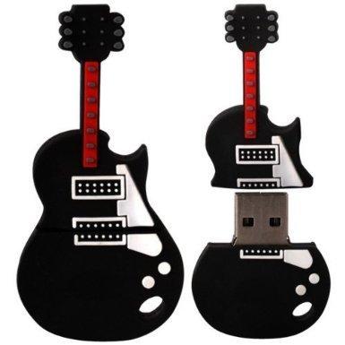 Hamiki, chiavetta usb da 16gb a forma di chitarra, con laccetto, colore nero lucido