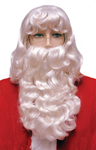 Kostüm Morris Perücken - Morris Weihnachts-Kostüm-Zubehör Nikolausperücke und Bart Set 002Ex Super Deluxe, weiß