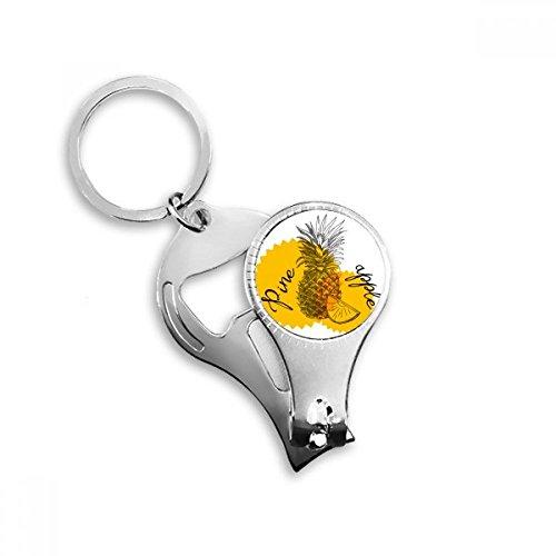 BeatChong Yellow Pinapple Zeichnung Obst Metall-Schlüsselanhänger Ring Multifunktionsnagelknipser Flaschenöffner Auto Keychain Beste Charme-Geschenk