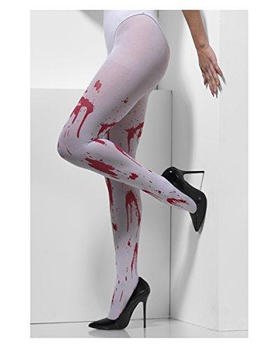 Weiße Strumpfhose mit roten Blutspritzer als Zubehör für jedes Halloween (Halloween Zubehör Strumpfhose)