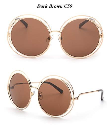 WDDYYBF Sonnenbrillen, Casual Comfort Runde Wire Frame Beschichtung Intage Fgrayion Sonnenbrille Frauen U 400 Braun