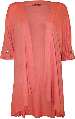 Fashion 4 Less - Gilet - Cardigan - Uni - Femme Rouge - Corail
