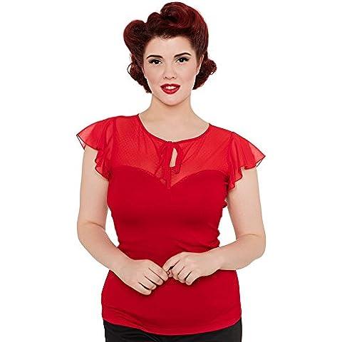 Voodoo Vixen–Mujer rojo Alyssa Vintage Top
