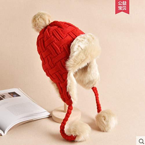 mlpnko Lei Feng Hut weibliche warme Dicke schützende Gehörschutzkappe sowie Samt gestrickte Wollmütze Neujahr rot M (56-58cm)