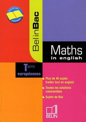 Maths in english Tle européennes par Danièle Gibbons