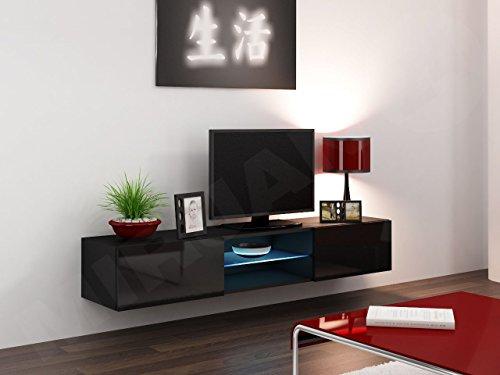 TV Lowboard Vigo Glas, Fernsehschrank, TV Schrank mit Gehärtes Glasboden, Hängeschrank mit Grifflose Öffnen, Hochglanz (ohne Beleuchtung, Schwarz / Schwarz Hochglanz) - 2