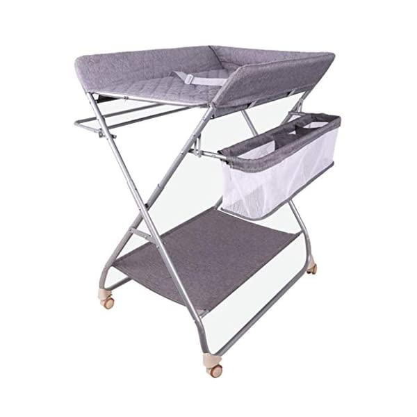 Nursery Baby Changing Table Folding Diaper Station for Small Spaces, Portable Infant Massage Station Dresser with Wheels, Grey, 0-3 Years Old AA-SS-Changing Table Stable Construction: Sturdy metal frame keep the table stable. While the other part is made of durable and wearable cotton. Folding: Easily fold it if you finish all the tasks! With its space saving design, you can store it behind a door. Large Storage Space: Equipped with 3 compartments aside the table, you can place soaps, towels and any other accessories conveniently. 1