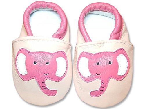weiche Premium Leder Krabbelschuhe Lauflernschuhe Babyschuhe mit verschiedenen Motiven Rosa Elefant