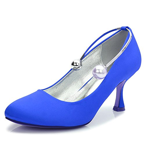 L @ yc Talons Hauts Femmes Ball De Mariage T-17061-63 Fermé Toe Soirée Perles Parti & Mariage Chaussures Personnalisées Bleu