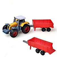 88AMZ Tractor Toy with Detachable Trailer, Collectable Farm Vehicle Tractor Toy, Classic Push and Go Cars Toys For Indoor and Outdoor Play, Education Vehicles gifts for Kids Children (1 pc)