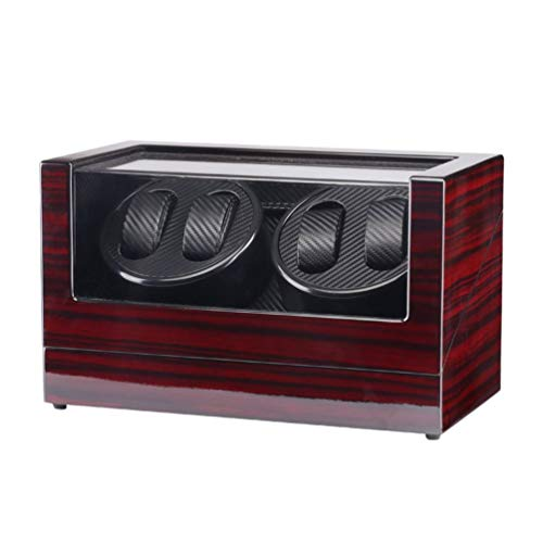 CHOULI TAIYU Double Head 4 Slots Lacquer Wood Rotate Watch Winder Box Silent Motor (Wine Red)