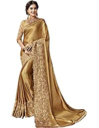 2fef3fedc RR FAB Women s Georgette Embroidered Saree with Blouse Piece (Golden)