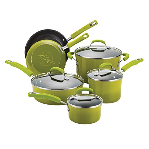Rachael Ray Porcelain/Hard Enamel II Nonstick 10-Piece Cookware Set, Green Gradient