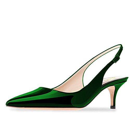 Lutalica Frauen Kitten Heel Spitze Patent Slingback Kleid Pumps Schuhe für Party Patent Grün Größe 42 EU