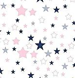 100% Baumwolle Baumwollstoff Sterne Kinderstoff Meterware