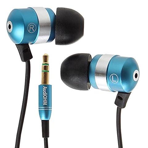 Casque Moto Retro Bleu - GOgroove AudiOHM Ecouteurs Intra-auriculaires avec oreillettes personnalisées