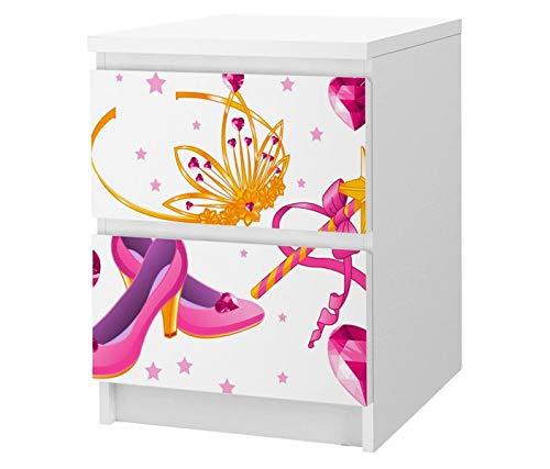 Set Möbelaufkleber für Ikea Kommode MALM 2 Fächer / Schubladen Kinderzimmer Cartoon Schuhe Prinzessin Herz rosa Zauberstab Kat2 Fee Krone ML2 Aufkleber Möbelfolie sticker (Ohne Möbel ) Folie 25F2637, MALM 2 Fächer:MALM 2 Fächer (Schublade Schuh Ikea)