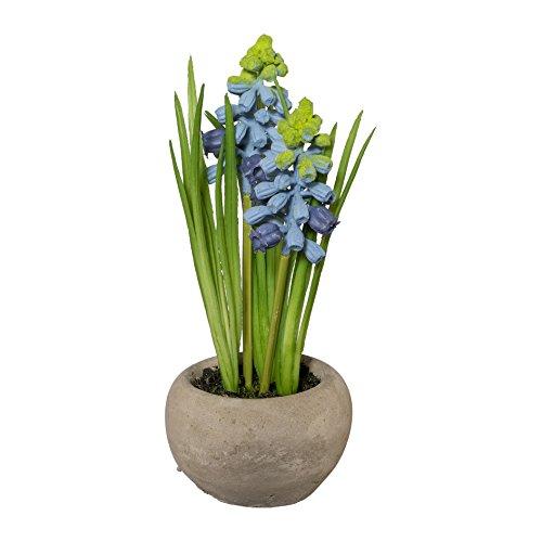 Kunstpflanze MUSCARI im Zementtopf. Ca 15 cm. Traubenhyazinthen getopft. Farbe: BLAU