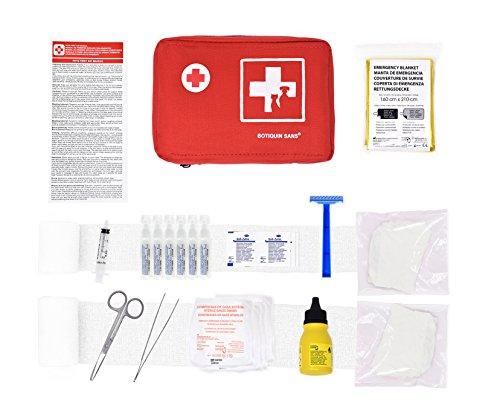 Erste-Hilfe-Kit für Haustiere (enthält ANTISEPTISCHE LÖSUNG, PHYSIOLOGISCHEN SERUM, RETTUNGSDECKE, Shaver.) (Nylon) Lösung Kit