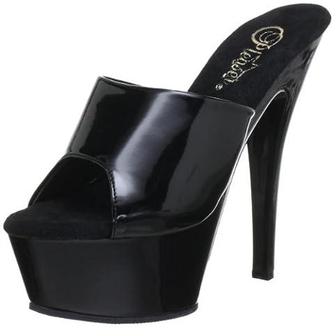 Pleaser EU-KISS-201 Sandals Womens Black Schwarz (Blk pat/blk) Size: 41 EU/8 UK