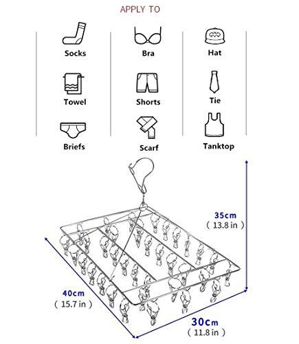 Ropa de beb/é Ropa Interior Guantes Sujetadores Skroad Perchero de Acero Inoxidable para Secado de Calcetines 36 Pinzas para Calcetines Gancho Giratorio Resistente al Viento