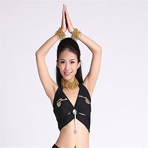 Women Sexy Dance Tops Bauchtanz Costume Tribal Embroidered Bandage Halter Bra-Top Dancewear Black