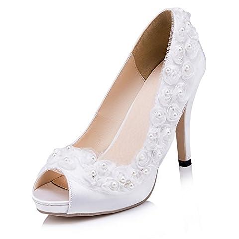 Kevin Fashion , Chaussures de mariage tendance femme - Beige - ivoire, 36.5