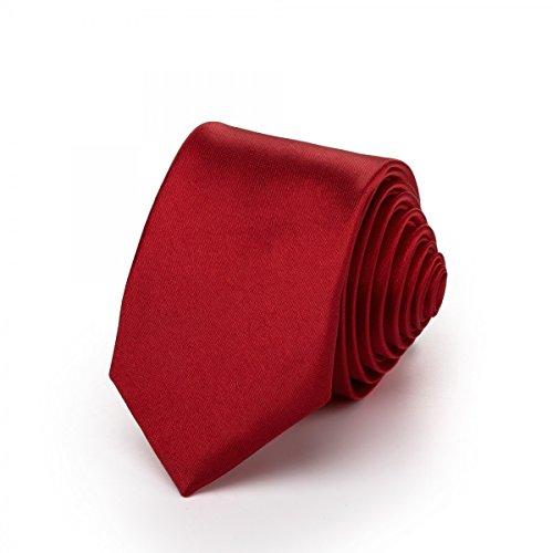 Rusty Bob - Krawatte schmal/dünn 3cm-5cm für Herren [auch für Kinder/Jungen] (uni,nicht gestreift) aus Polyester glänzt wie Seide - Magenta
