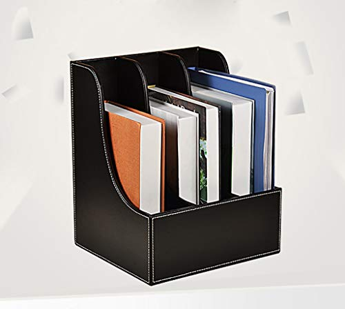 YXWA Ordnungsmappen Office-DREI-Ebenen-Desktop-Datei-Regal Multi-Layer-Datenrahmen Ordner Aufbewahrungsbox Sitzkorb Datei-Rack Dateikasten (Farbe : SCHWARZ)