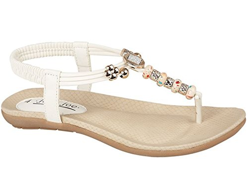 Ladies Exotic Spice Jo & Joe Leather Look Fashion Diamante Bead Flat...
