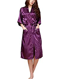 DELEY Unisex Pareja Mujeres Kimono Satén Seda Suave Dormir Peignoir Bata de Baño Albornoces Ropa de Dormir Camisones