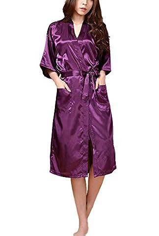 DELEY Unisex Ehepaar Damen Kimono aus Satin Weiche Nachtwäsche Bademäntel Morgenmäntel Housecoat Negligee Saunamantel Dunkel Violett Größe M